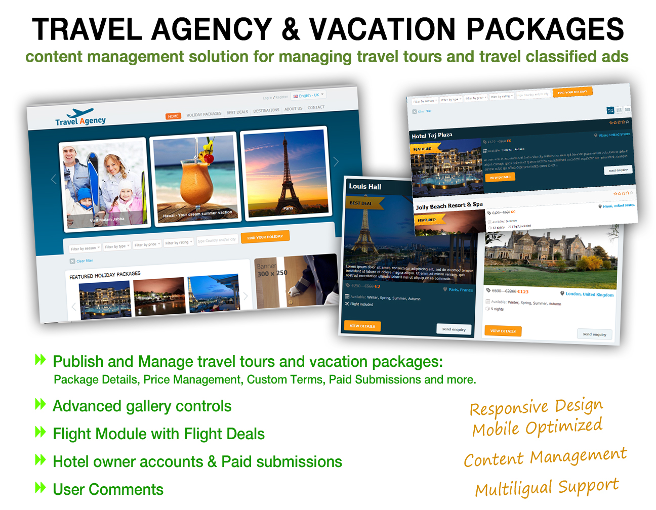 Travel Agency and Vacation Package Listings